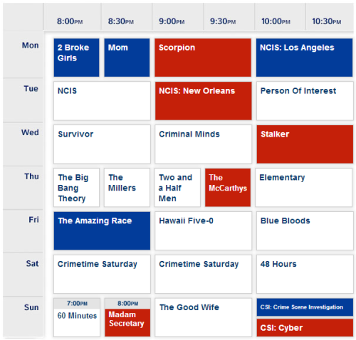 CBS Upfronts 2014 schedule pic